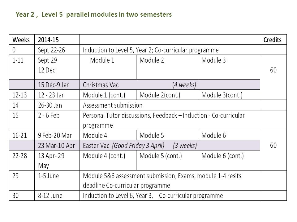 Year 2, Level 5 parallel modules in two semesters