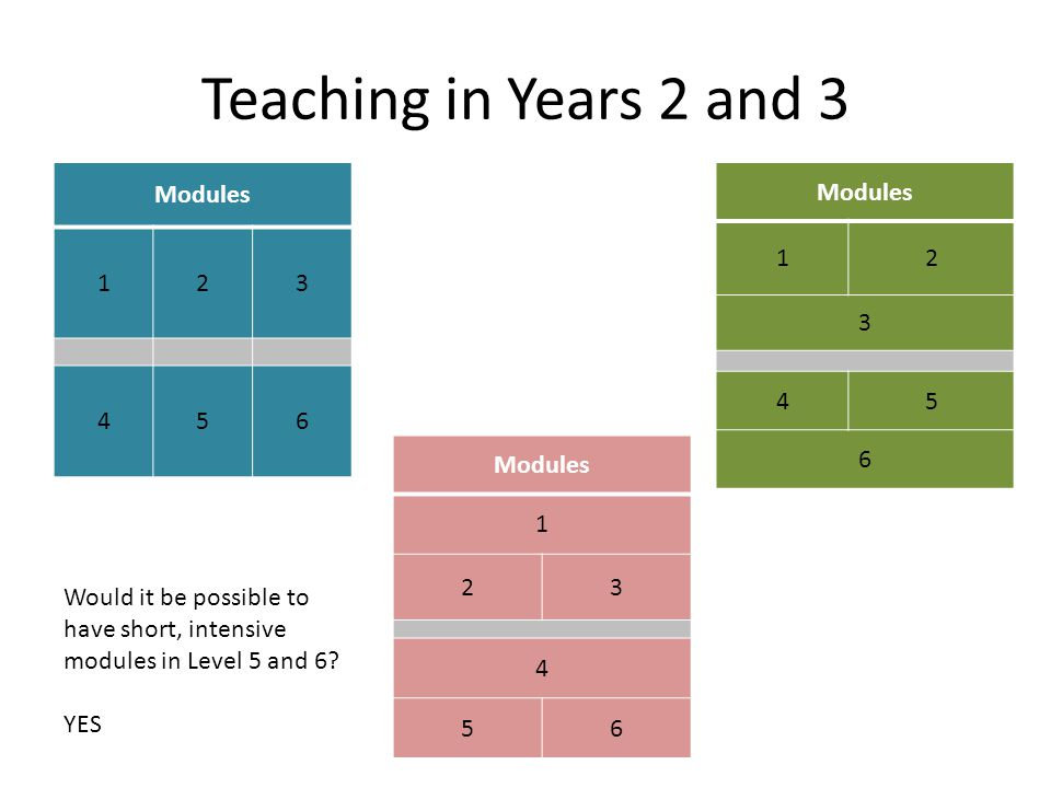 Teaching in Years 2 and 3 Modules 123 456 1 23 4 56 12 3 45 6 Would it be possible to have short, intensive modules in Level 5 and 6.