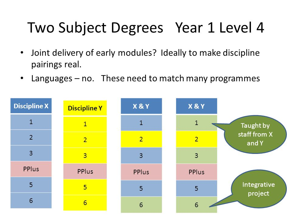 Two Subject Degrees Year 1 Level 4 Joint delivery of early modules? Ideally to make discipline pairings real. Languages – no. These need to match many