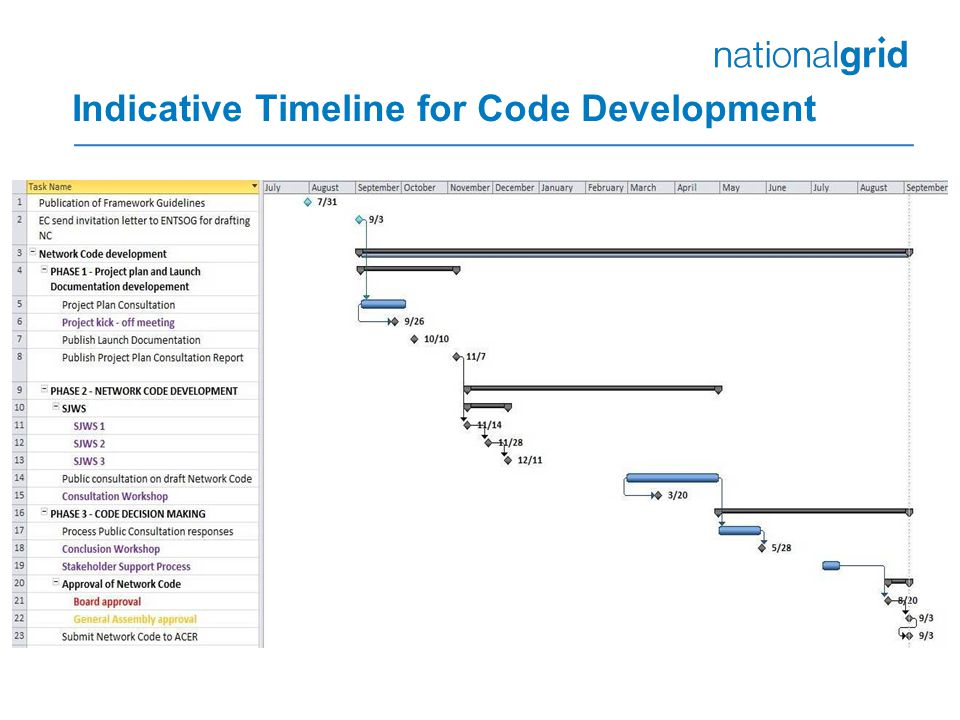 Indicative Timeline for Code Development