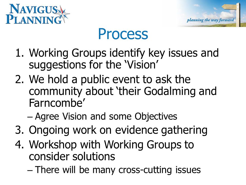 Process 1.Working Groups identify key issues and suggestions for the 'Vision' 2.We hold a public event to ask the community about 'their Godalming and Farncombe' – Agree Vision and some Objectives 3.Ongoing work on evidence gathering 4.Workshop with Working Groups to consider solutions – There will be many cross-cutting issues