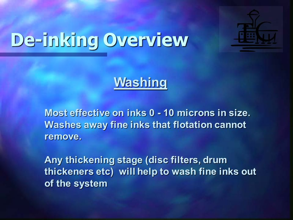 Washing Most effective on inks 0 - 10 microns in size.