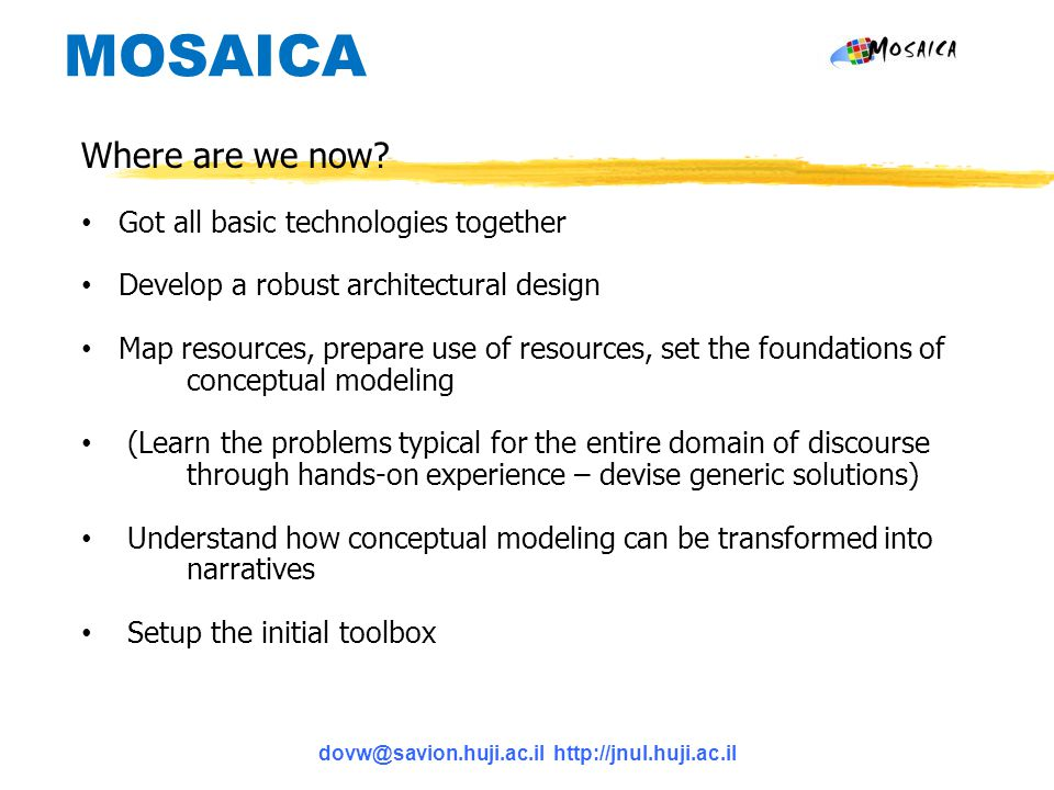 dovw@savion.huji.ac.il http://jnul.huji.ac.il MOSAICA Where are we now? Got all basic technologies together Develop a robust architectural design Map