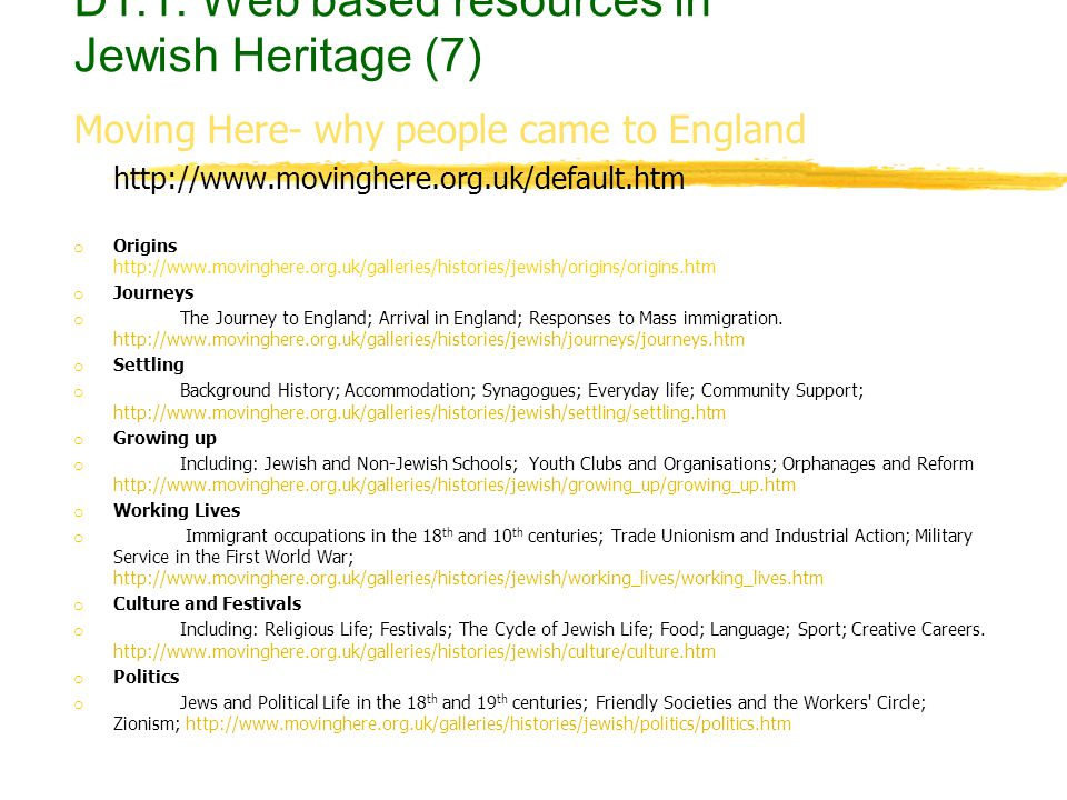 Moving Here- why people came to England http://www.movinghere.org.uk/default.htm o Origins http://www.movinghere.org.uk/galleries/histories/jewish/ori