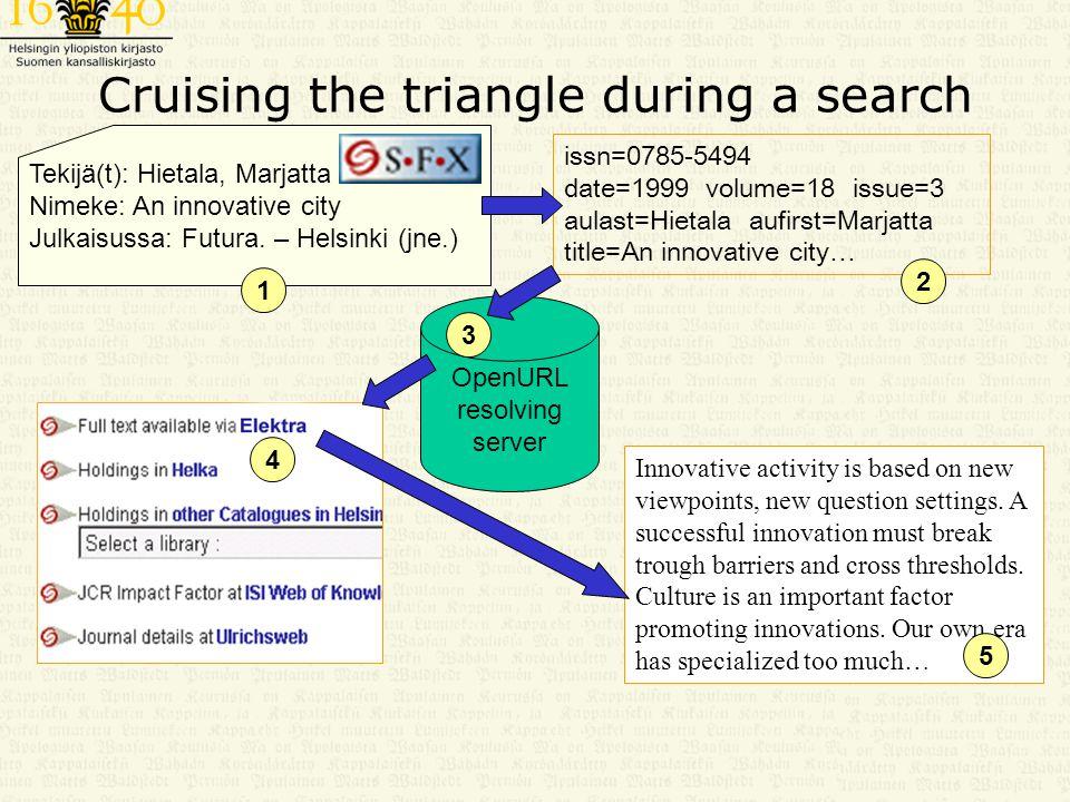 Cruising the triangle during a search Tekijä(t): Hietala, Marjatta Nimeke: An innovative city Julkaisussa: Futura.