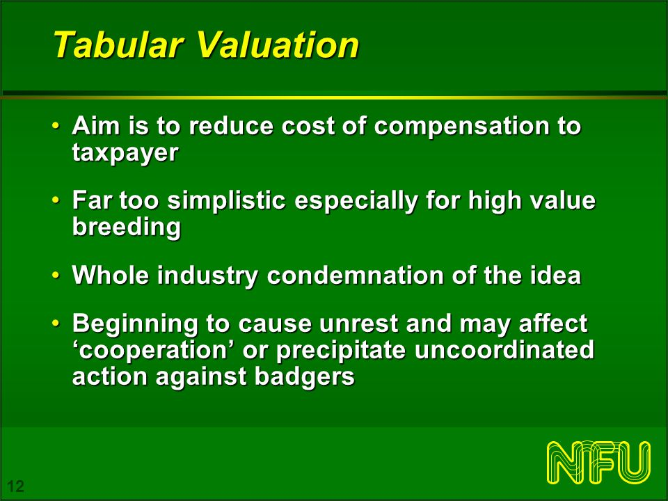 12 Tabular Valuation Aim is to reduce cost of compensation to taxpayerAim is to reduce cost of compensation to taxpayer Far too simplistic especially for high value breedingFar too simplistic especially for high value breeding Whole industry condemnation of the ideaWhole industry condemnation of the idea Beginning to cause unrest and may affect 'cooperation' or precipitate uncoordinated action against badgersBeginning to cause unrest and may affect 'cooperation' or precipitate uncoordinated action against badgers