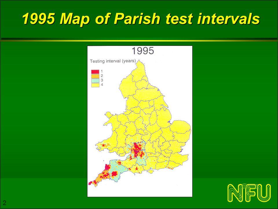 3 November 2005 Map of parish testing intervals