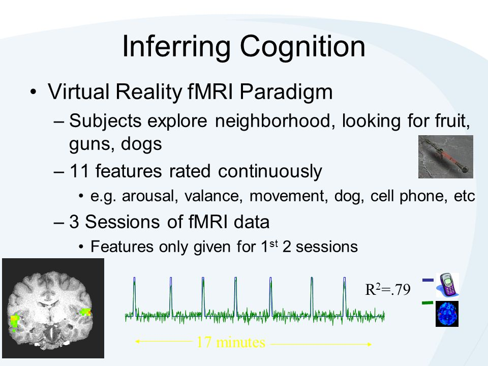 Virtual Reality fMRI Paradigm –Subjects explore neighborhood, looking for fruit, guns, dogs –11 features rated continuously e.g. arousal, valance, mov
