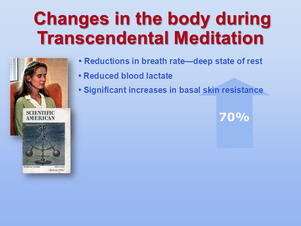 Reductions in breath rate—deep state of rest Reduced blood lactate Significant increases in basal skin resistance 70%