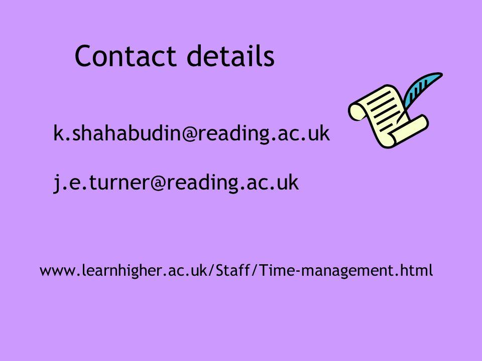 Contact details k.shahabudin@reading.ac.uk j.e.turner@reading.ac.uk www.learnhigher.ac.uk/Staff/Time-management.html