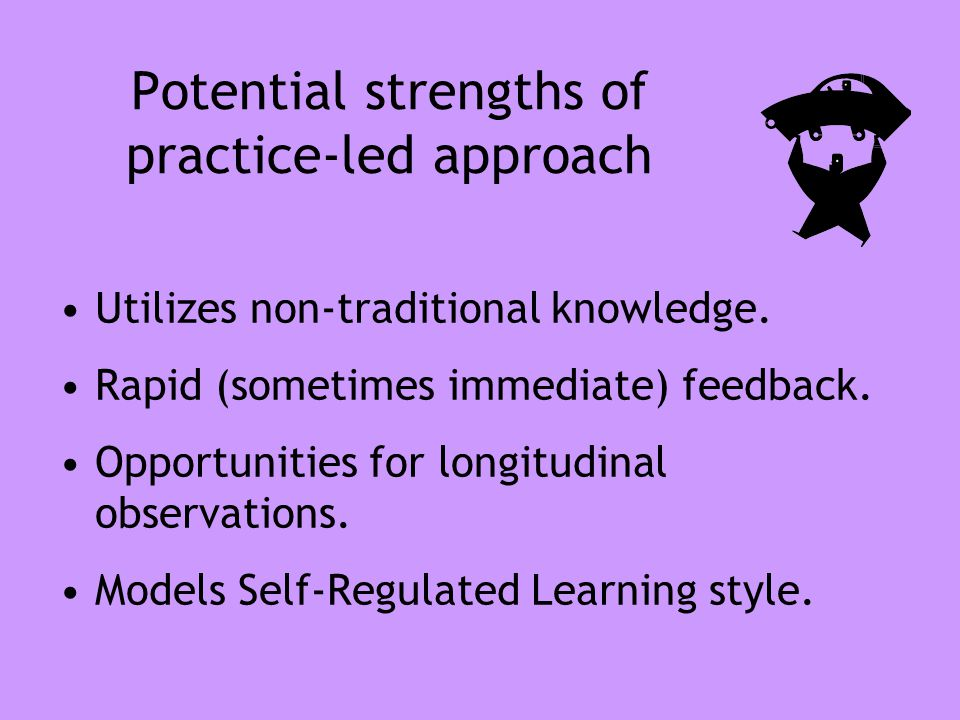 Potential strengths of practice-led approach Utilizes non-traditional knowledge. Rapid (sometimes immediate) feedback. Opportunities for longitudinal