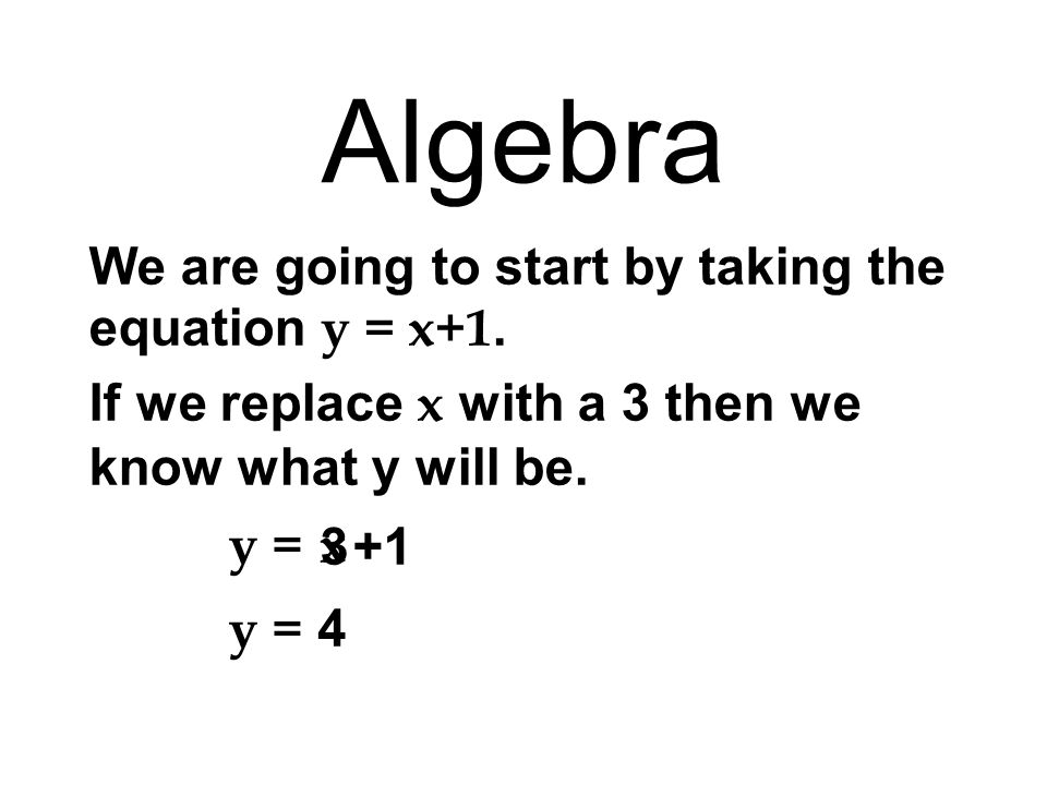 x 0123 y=x+1y Algebra We replace x with several numbers and work out what y is each time.