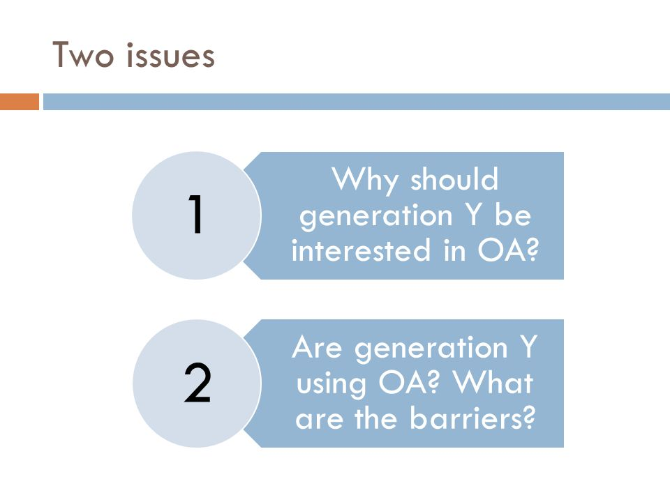 Two issues Why should generation Y be interested in OA.