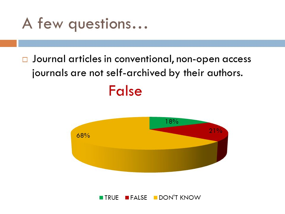A few questions…  Journal articles in conventional, non-open access journals are not self-archived by their authors.