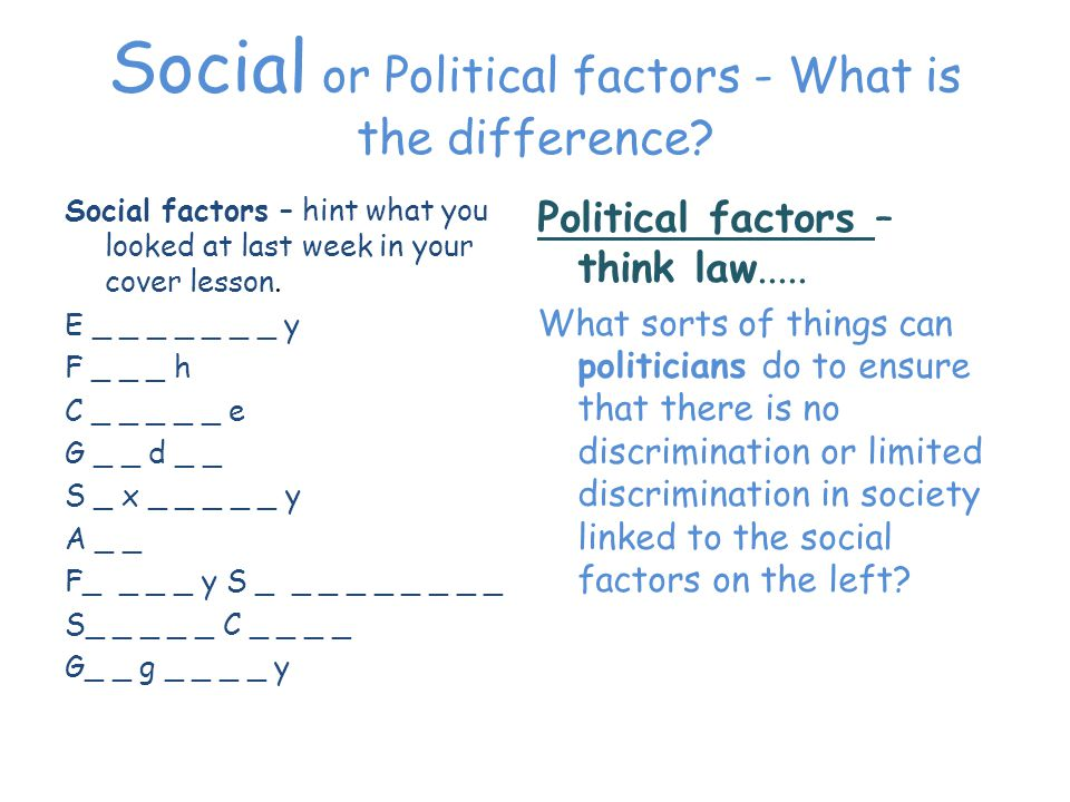 Social or Political factors - What is the difference.