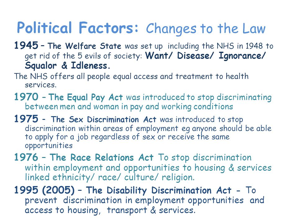 Political Factors: Changes to the Law 1945 – The Welfare State was set up including the NHS in 1948 to get rid of the 5 evils of society: Want/ Disease/ Ignorance/ Squalor & Idleness.