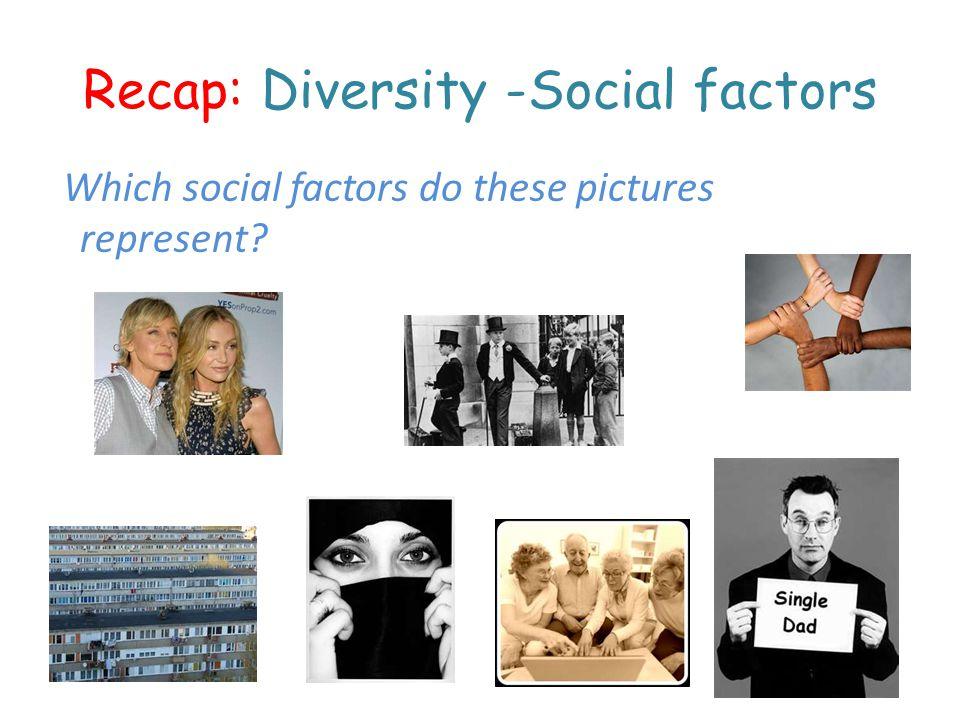 Recap: Diversity -Social factors Which social factors do these pictures represent?