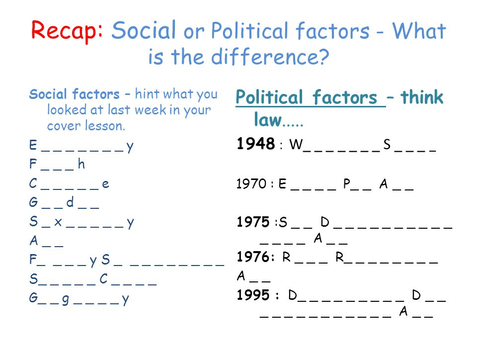 Recap: Social or Political factors - What is the difference? Social factors – hint what you looked at last week in your cover lesson. E _ _ _ _ _ _ _