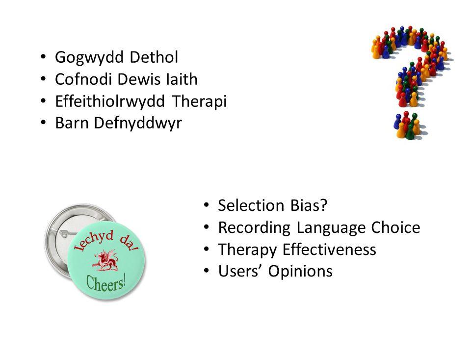 Gogwydd Dethol Cofnodi Dewis Iaith Effeithiolrwydd Therapi Barn Defnyddwyr Selection Bias? Recording Language Choice Therapy Effectiveness Users' Opin