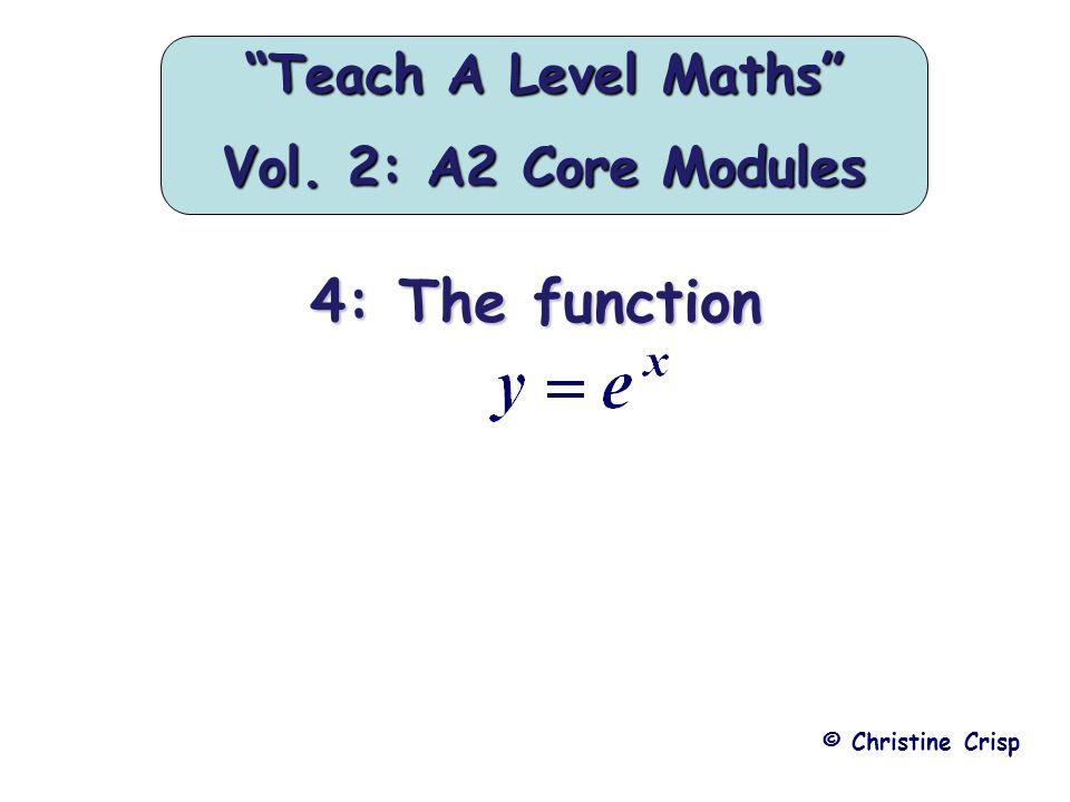 """4: The function © Christine Crisp """"Teach A Level Maths"""" Vol. 2: A2 Core Modules"""