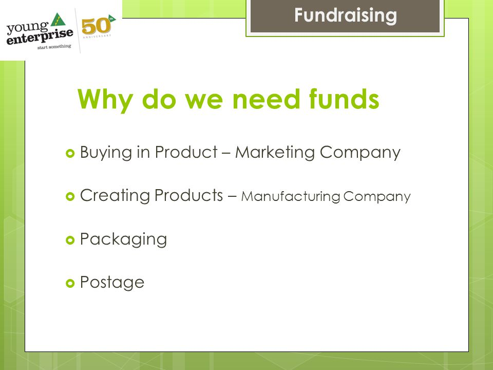 Why do we need funds  Buying in Product – Marketing Company  Creating Products – Manufacturing Company  Packaging  Postage Fundraising