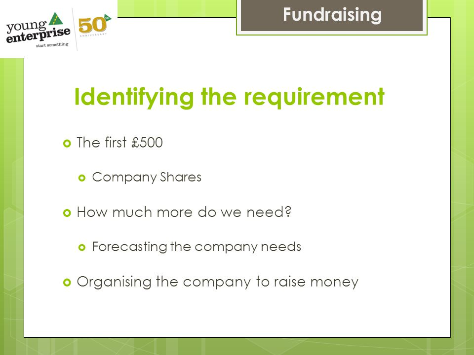 Identifying the requirement  The first £500  Company Shares  How much more do we need.
