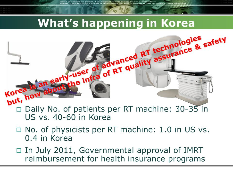 What's happening in Korea Korea is an early-user of advanced RT technologies but, how about the infra of RT quality assurance & safety  Daily No.