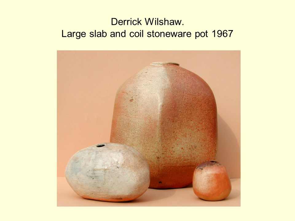 Derrick Wilshaw. Large slab and coil stoneware pot 1967