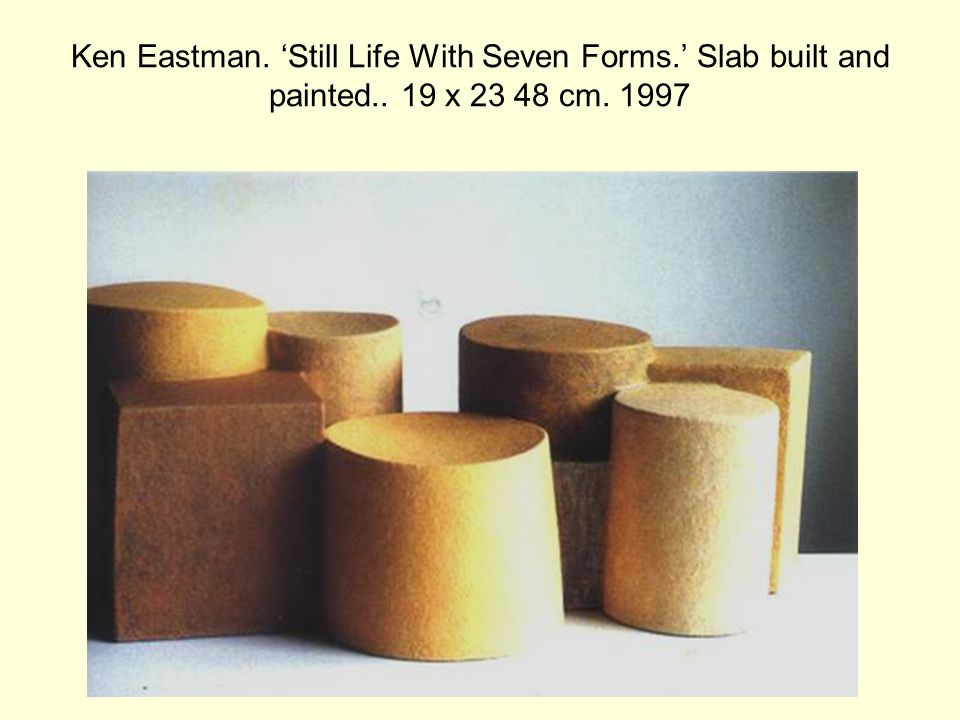 Ken Eastman. 'Still Life With Seven Forms.' Slab built and painted.. 19 x 23 48 cm. 1997