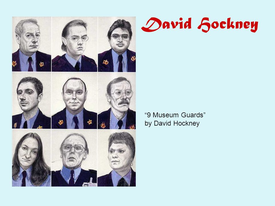David Hockney 9 Museum Guards by David Hockney