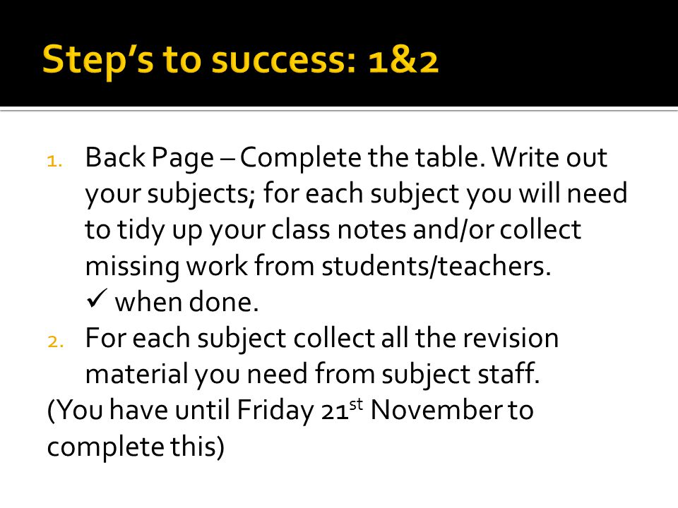 Use this table to help you organise your revision materials, this should be done FRIST before your revision starts.