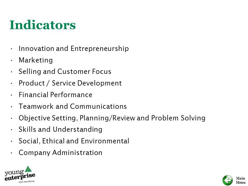 Main Menu Indicators Innovation and Entrepreneurship Marketing Selling and Customer Focus Product / Service Development Financial Performance Teamwork