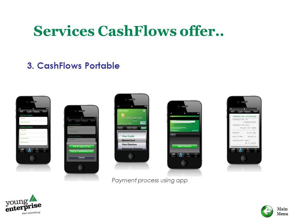 Main Menu Services CashFlows offer.. 3. CashFlows Portable Payment process using app