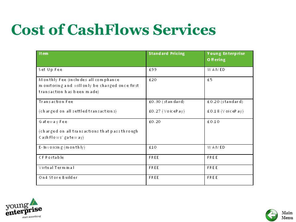 Main Menu Cost of CashFlows Services