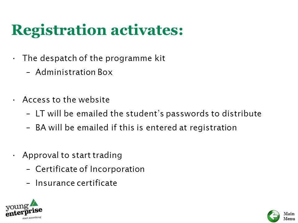 Main Menu Registration activates: The despatch of the programme kit –Administration Box Access to the website –LT will be emailed the student's passwo