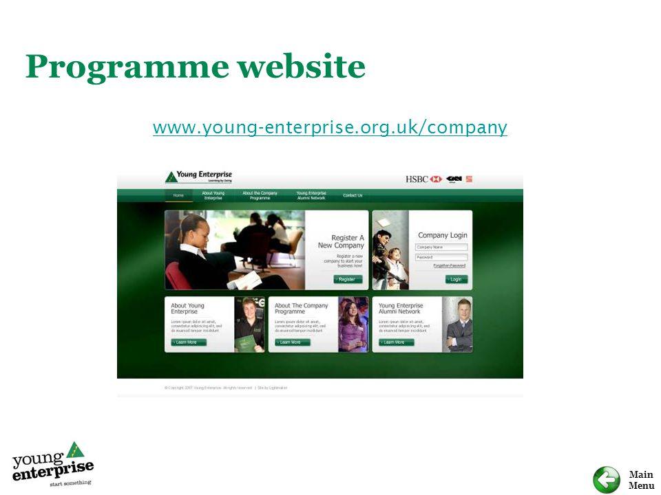 Main Menu Programme website www.young-enterprise.org.uk/company