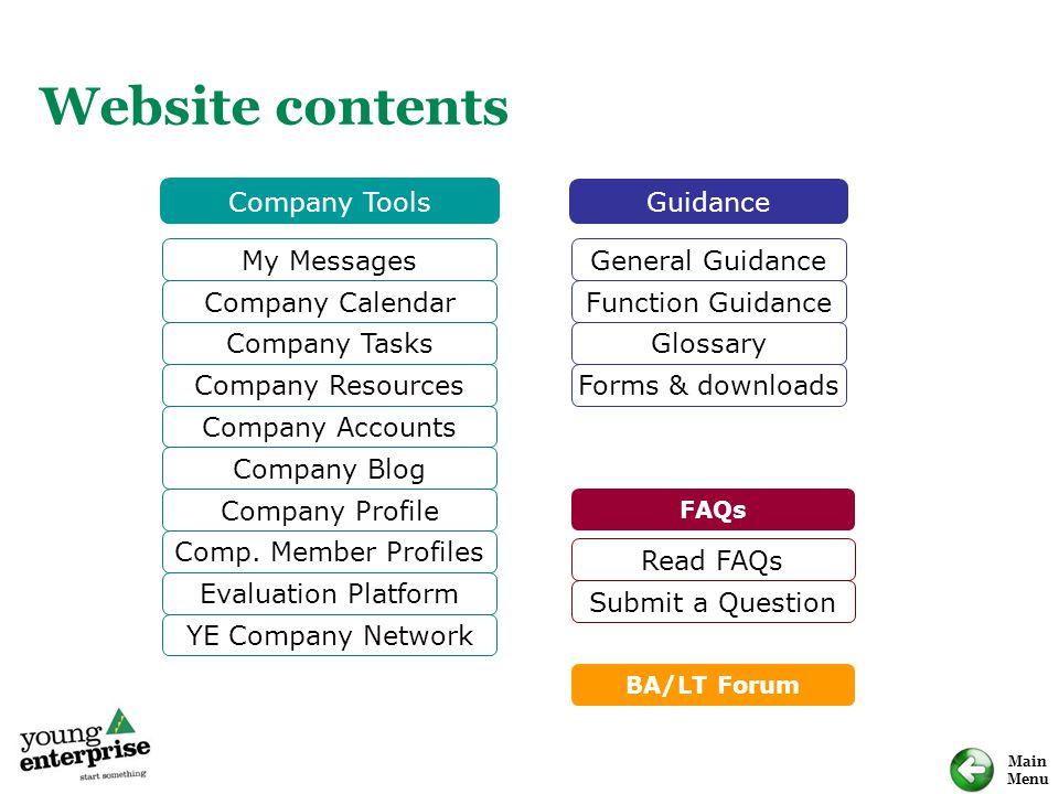 Main Menu Website contents My Messages Company Calendar Company Tasks Company Resources Company Blog Company Profile Comp. Member Profiles Evaluation