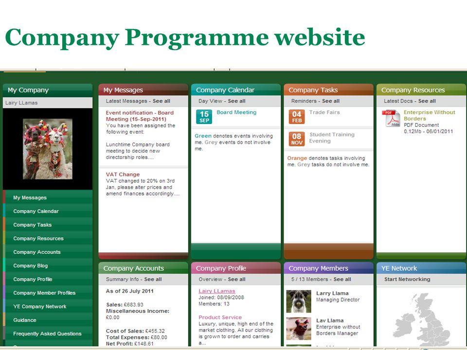 Main Menu Company Programme website