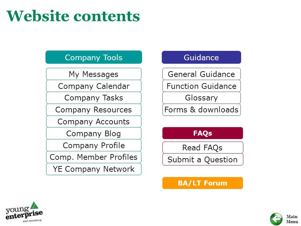 Main Menu Website contents My Messages Company Calendar Company Tasks Company Resources Company Blog Company Profile Comp. Member Profiles YE Company