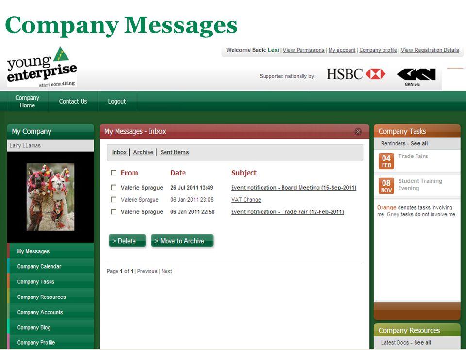 Main Menu Company Messages