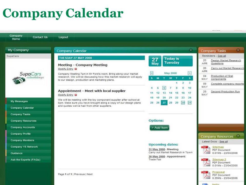 Main Menu Company Calendar