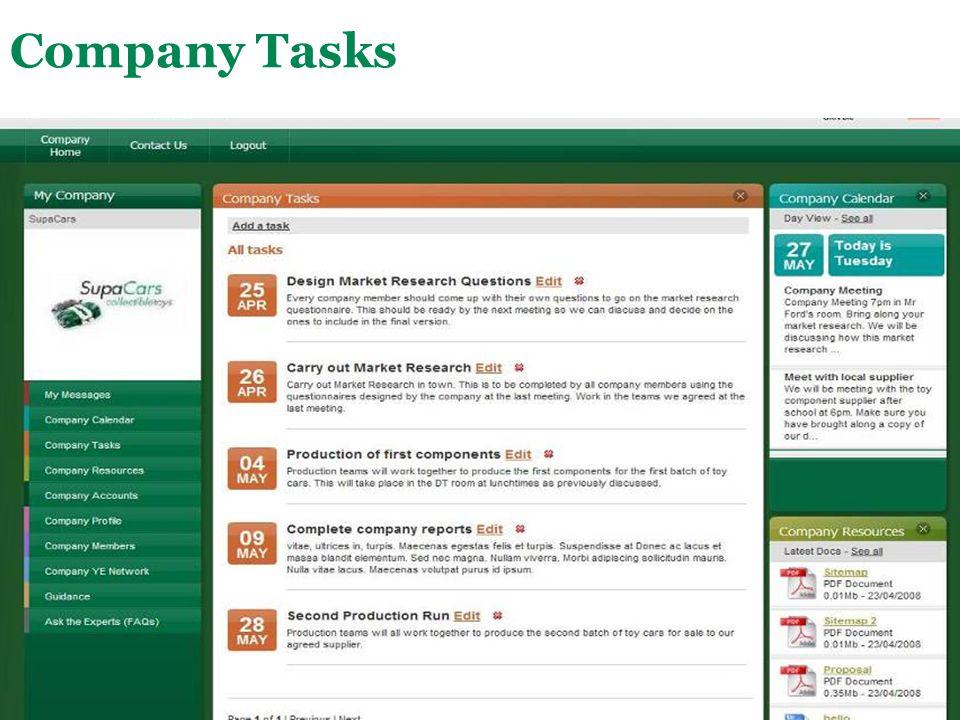 Main Menu Company Tasks