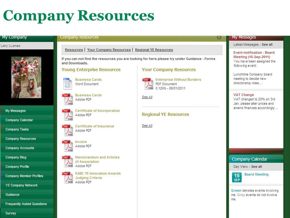 Main Menu Company Resources