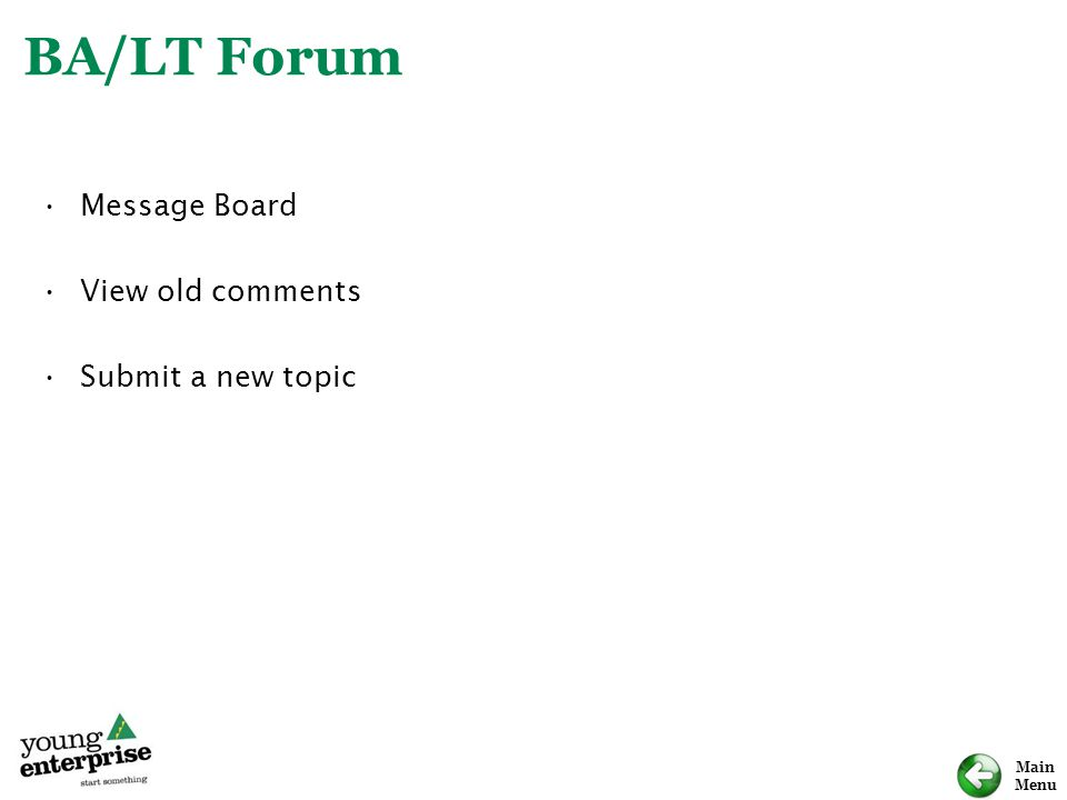 Main Menu BA/LT Forum Message Board View old comments Submit a new topic