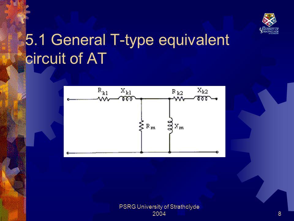 PSRG University of Strathclyde 20049 5.2 Equivalent circuit components Components:  Primary side Leakage Impedances  Secondary side Leakage Impedances  Magnetizing impedances  Capacitance Involving:  Resistance  Reactance  Capacitance