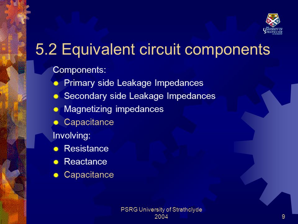 PSRG University of Strathclyde 200410 5.3 Constructing Impedance Function  Functions of frequency dependent in a multiple frequency condition: