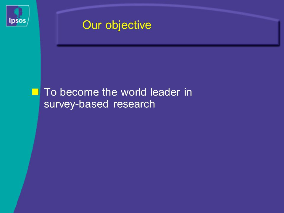 Our objective To become the world leader in survey-based research