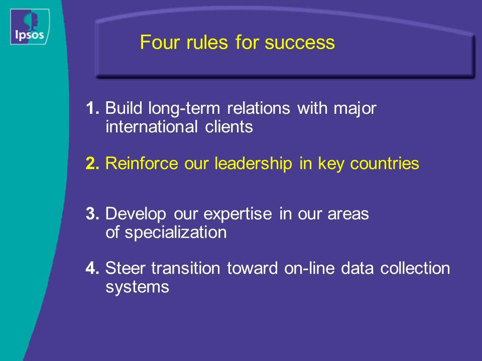 Four rules for success 2. Reinforce our leadership in key countries 4.