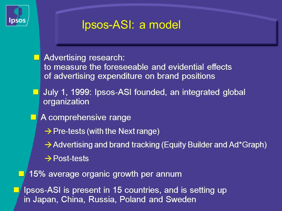 Ipsos-ASI: a model July 1, 1999: Ipsos-ASI founded, an integrated global organization A comprehensive range  Pre-tests (with the Next range)  Advertising and brand tracking (Equity Builder and Ad*Graph)  Post-tests A comprehensive range  Pre-tests (with the Next range)  Advertising and brand tracking (Equity Builder and Ad*Graph)  Post-tests 15% average organic growth per annum Ipsos-ASI is present in 15 countries, and is setting up in Japan, China, Russia, Poland and Sweden Advertising research: to measure the foreseeable and evidential effects of advertising expenditure on brand positions