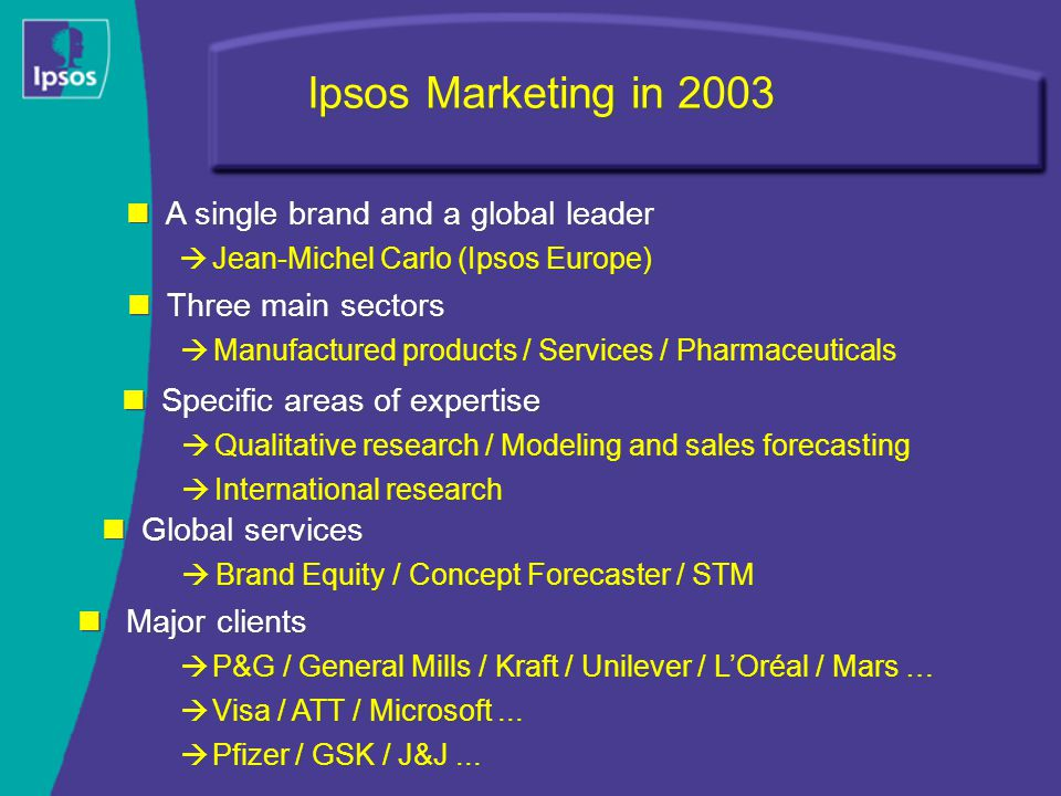 Ipsos Marketing in 2003 Three main sectors  Manufactured products / Services / Pharmaceuticals Three main sectors  Manufactured products / Services / Pharmaceuticals Global services  Brand Equity / Concept Forecaster / STM Global services  Brand Equity / Concept Forecaster / STM Specific areas of expertise  Qualitative research / Modeling and sales forecasting  International research Specific areas of expertise  Qualitative research / Modeling and sales forecasting  International research Major clients  P&G / General Mills / Kraft / Unilever / L'Oréal / Mars …  Visa / ATT / Microsoft...